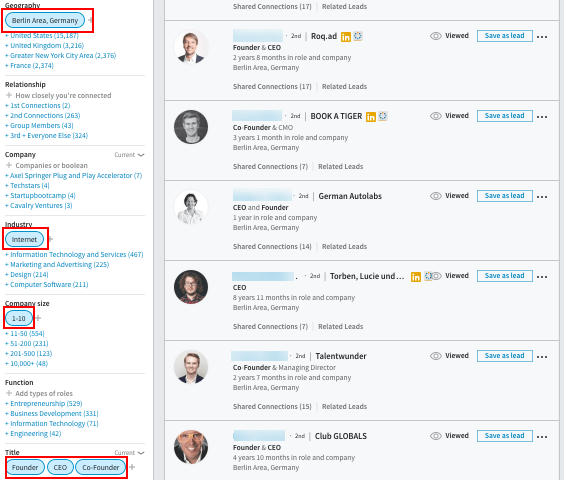 search query in LinkedIn Sales Navigator