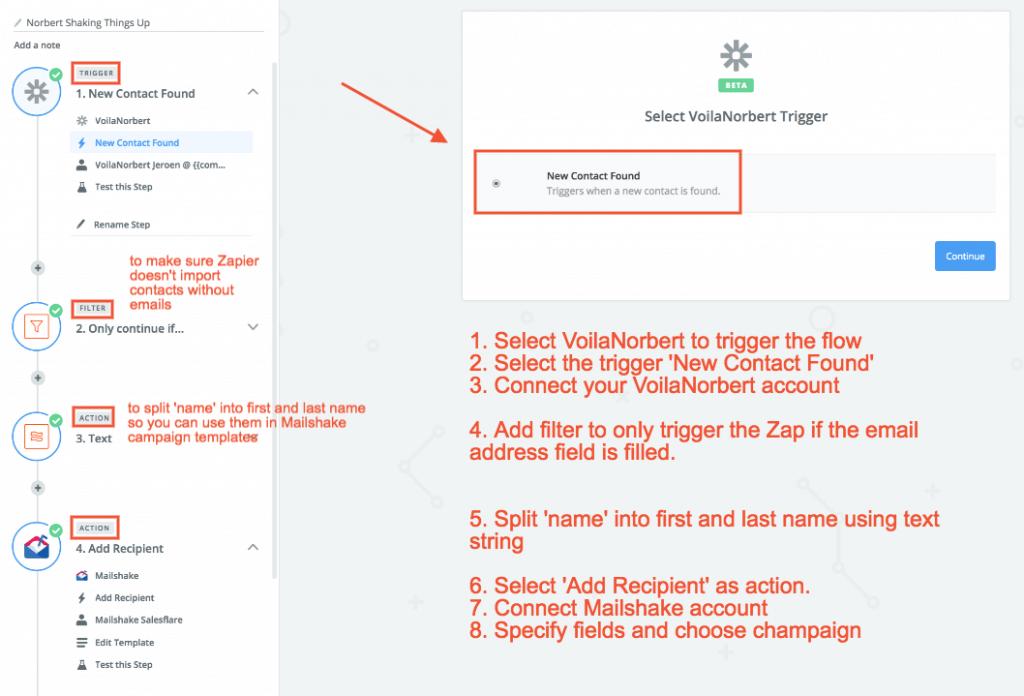 Use Zap to push VoilaNorbert straight to Mailshake.