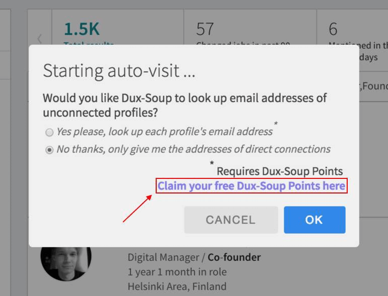 Gather email addresses with Dux-Soup