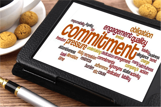 Commitment and related words computer graphic