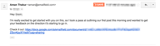 Screenshot of a follow up email example