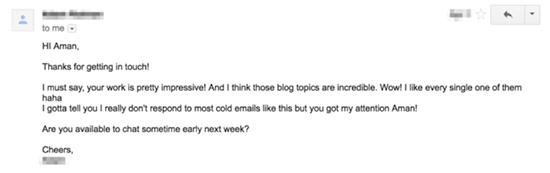 Screenshot of a follow up email response
