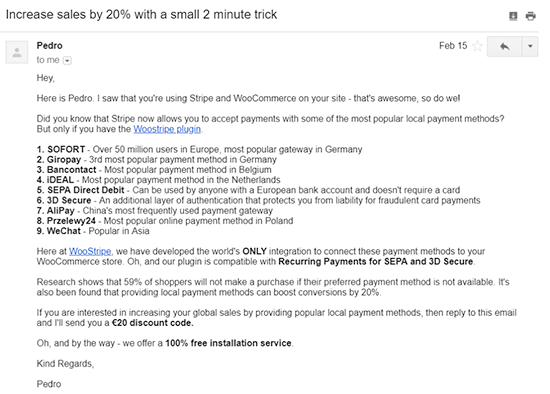 Email on how to increase your sales by 20%