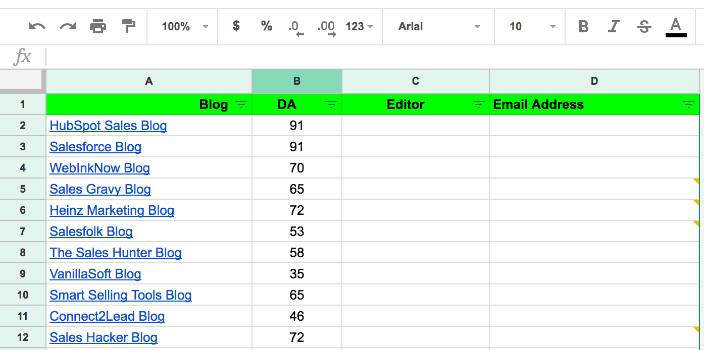 Spreadsheet listing websites and their domain authority