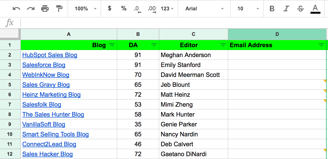 Spreadsheet showing blogs, domain authority, and editors