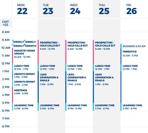 business development representative schedule