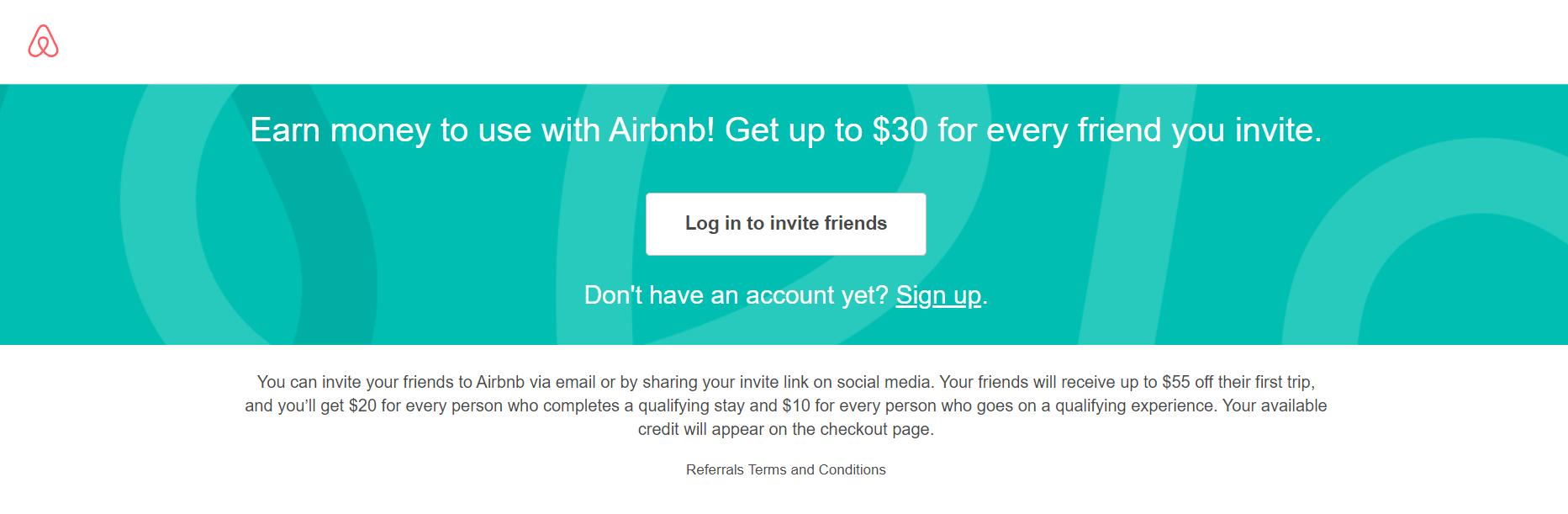 Airbnb referral program Login