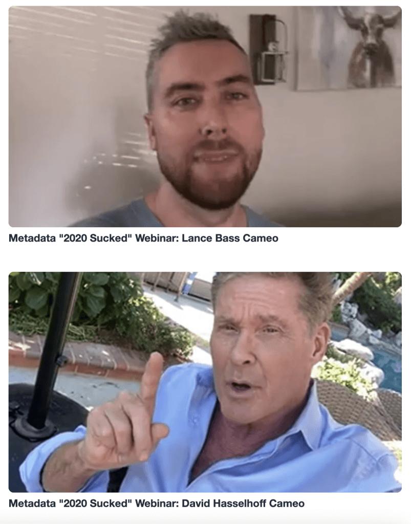 Lance Bass and David Hasselhoff Cameos for metadata.io