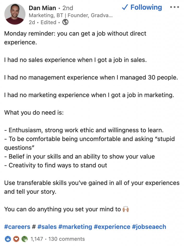 Dan Mian LinkedIn Post